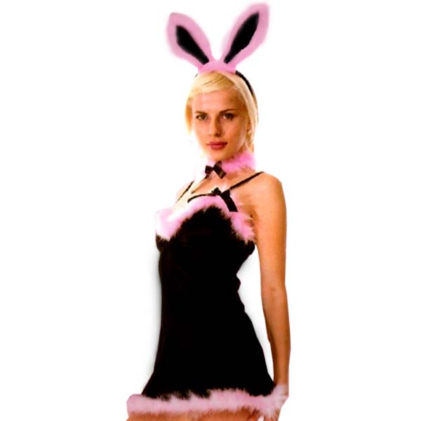 Bunny Girl Costume Pink Fur Trim